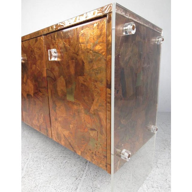 Copper Patchwork Copper and Lucite Sideboard in the Style of Milo Baughman For Sale - Image 8 of 11