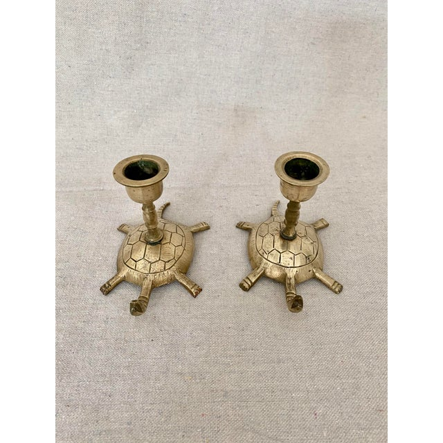Vintage pair of brass turtle candlesticks/candle holders. These little turtles will add a cheerful touch to your tablescape.