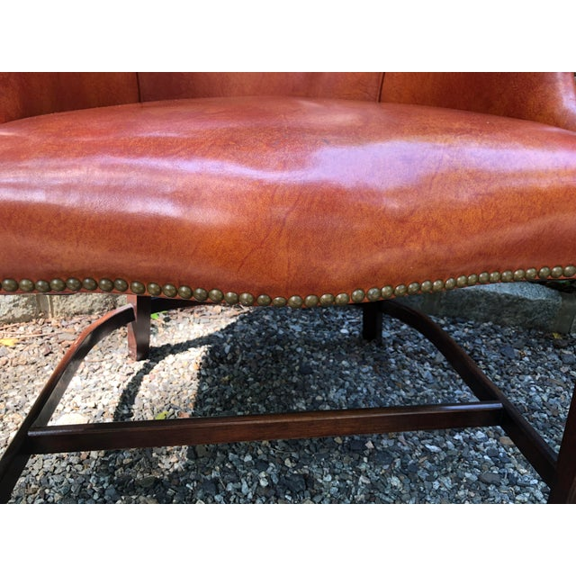 1960s 1960s Mid-Century Modern Brown Faux Leather Wingback Chairs - a Pair For Sale - Image 5 of 12