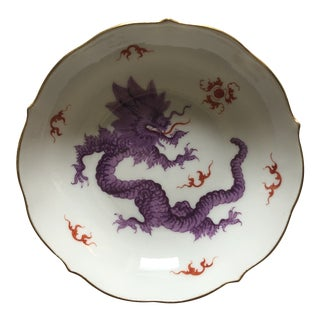 Mid 20th Century Meissen Purple Ming Dragon Teacup Saucer For Sale