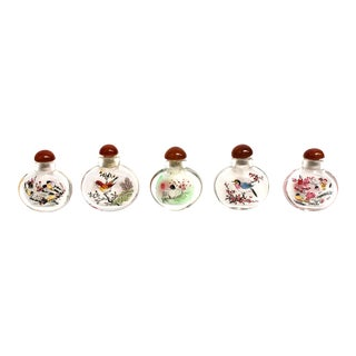 Reverse Painted Snuff Bottles With Birds - Set of 5 For Sale