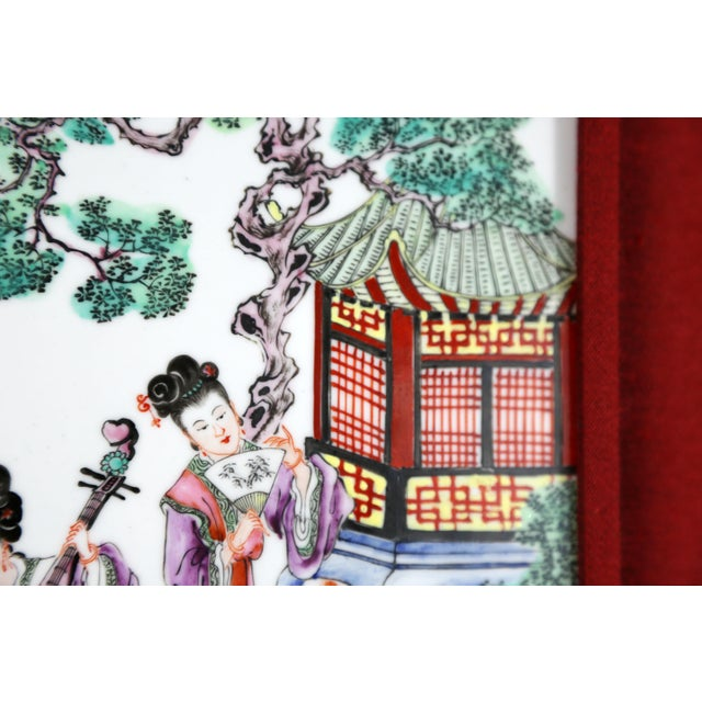 Asian Hand-Painted Geishas on Porcelain Tile For Sale - Image 3 of 7