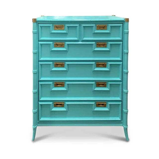 Vintage Century Furniture Chinoiserie Aqua Faux Bamboo Highboy Dresser For Sale - Image 9 of 9