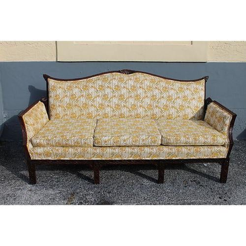 A masterpiece highly detailed, carved wood chinoiserie style antique sofa. Sofa has very ornate, meticulous carving all...