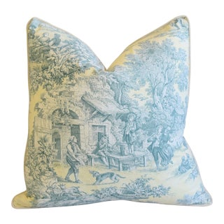 "French Farmhouse Country Toile Feather/Down Pillow 24"" Square For Sale"