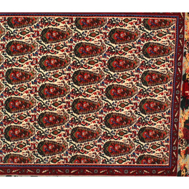Persian 1980s Persian Seneh Hand-Knotted Rug - 4′2″ × 4′11″ For Sale - Image 3 of 5