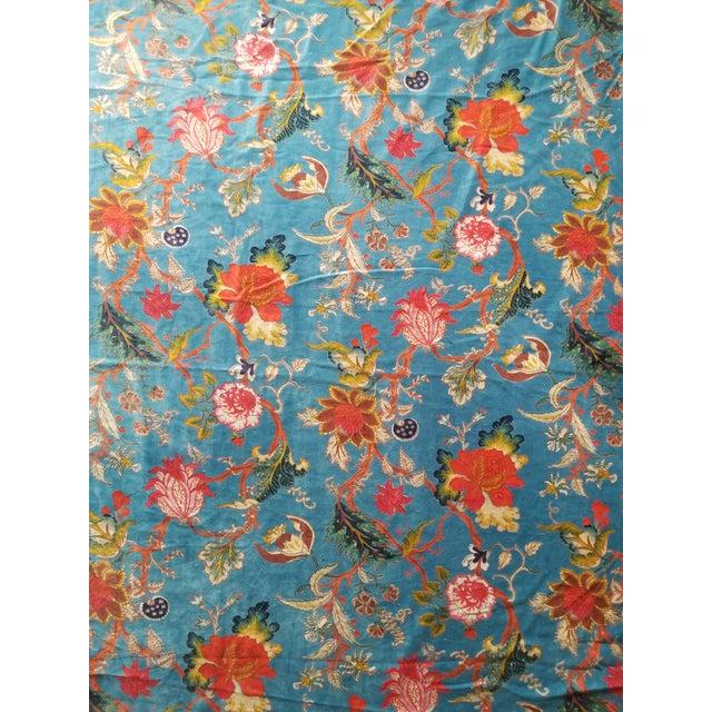 7 Yards Blue Floral Chinoiseri Velvet For Sale - Image 4 of 4