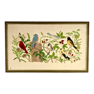 Vintage Garden Birds Crewel Needlepoint Embroidery Framed Artwork