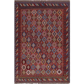 "Antique Tribal Soumakh Zulma Wool Rug - 6'4"" X 8'6"" For Sale"