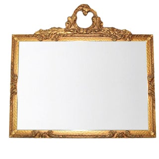 Horizontal Antique French Louis Philippe Gold Giltwood Mirror With Gingerbread Ribbon Motif For Sale