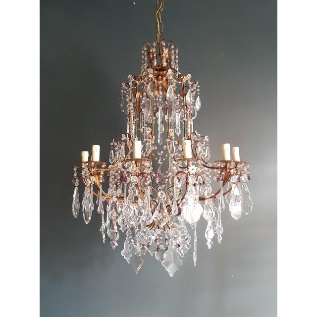 Crystal Chandelier Antique Ceiling Lamp Murano Florentiner Lustre Art Nouveau Purple Measures: Total height 140 cm, height...