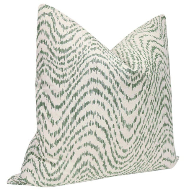 """Traditional 22"""" Olive Flamestitch Pillows - a Pair For Sale - Image 3 of 5"""