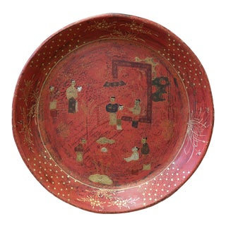 Chinese Red Lacquer Golden Scenery Round Tray Display Art