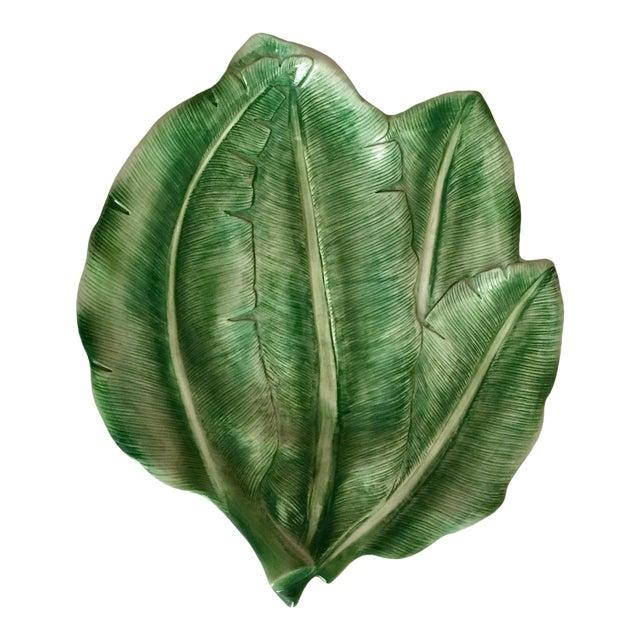 "Italian 19"" Hand-Painted Banana Leaf Platter For Sale"
