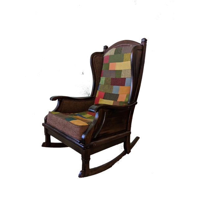 Brown Maxwell Royal Chair Company Upholstered Wingback Rocker For Sale - Image 8 of 8