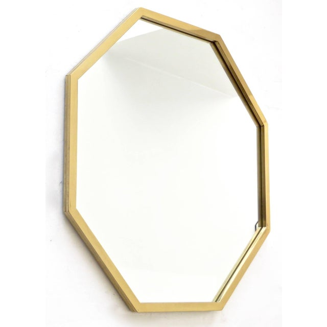 Mid-Century Modern Italian Octagonal Brass Framed Mirror For Sale - Image 3 of 7