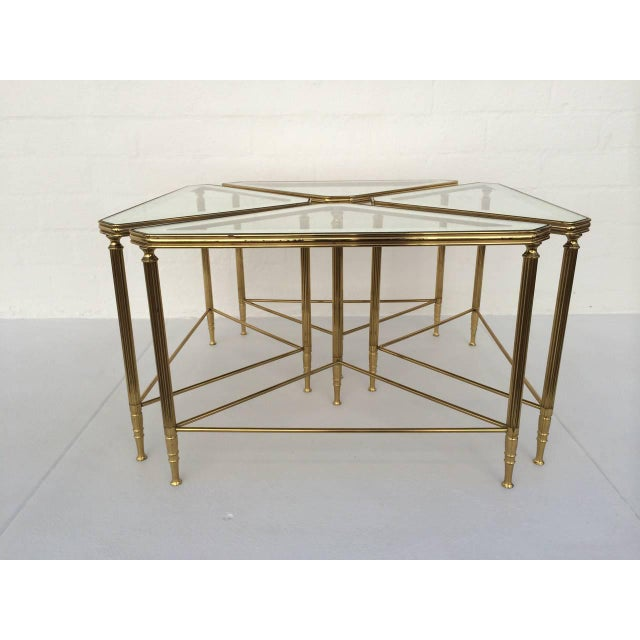 Brass Brass and Glass Tables by Maison Jansen - Set of 4 For Sale - Image 7 of 10