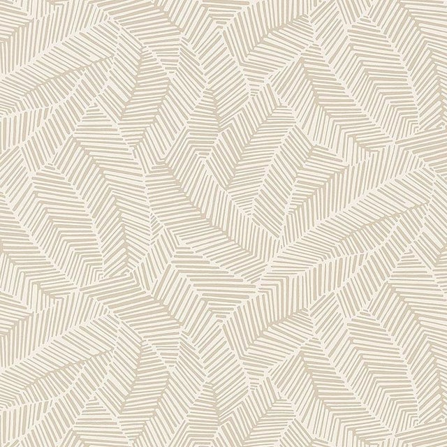 Schumacher Abstract Leaf Geometric Stripes Wallpaper in Linen Beige - 2-Roll Set (9 Yards) For Sale