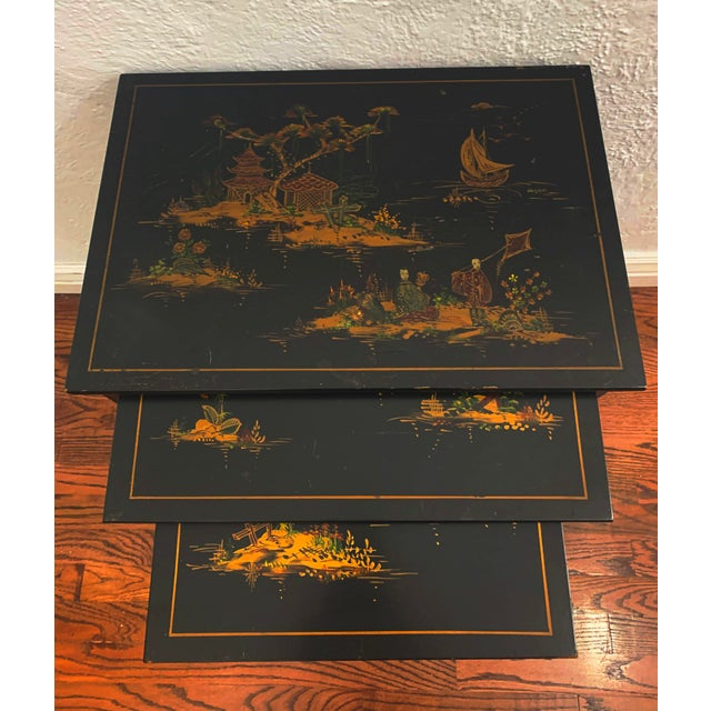 Asian 1940s Japanese Black Lacquer Nesting Table With Hand Painting - Set of 3 For Sale - Image 3 of 13