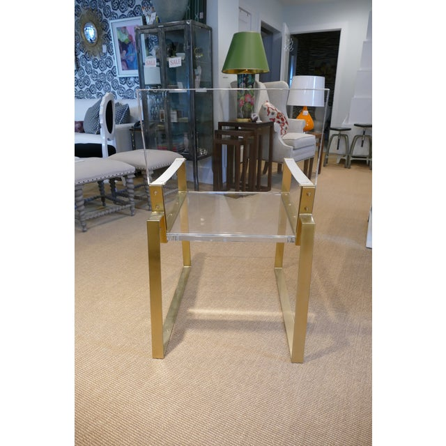 Century Furniture Century Lucite & Brass Halo Chair For Sale - Image 4 of 12
