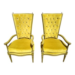 Vintage Lewittes & Sons High Back Mid-Century Chairs - a Pair For Sale
