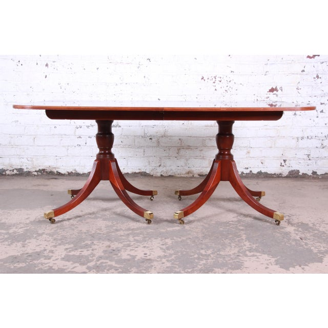 Gold Baker Furniture Historic Charleston Georgian Banded Inlaid Mahogany Dining Set For Sale - Image 8 of 13