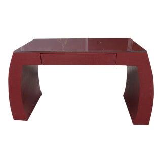 Karl Springer Style Hollywood Regency Red Grasscloth Ming Scroll Desk Console Table