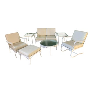 7-Piece Mid Century Patio Set in the Style of Russell Woodard For Sale