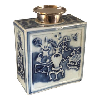 18th Century Chinese Blue and White Tea Caddy For Sale