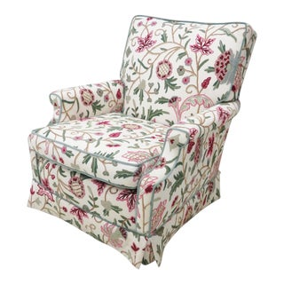 Floral Crewelwork Club Chair For Sale