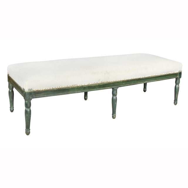 White French Restauration Green Painted Bench For Sale - Image 8 of 8
