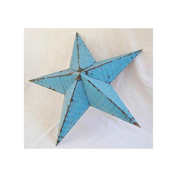 Large Reclaimed Barn Metal Blue Star - Image 6 of 6