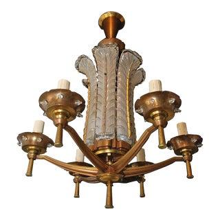 French Art Deco Bronze Chandelier, Signed Ezan For Sale