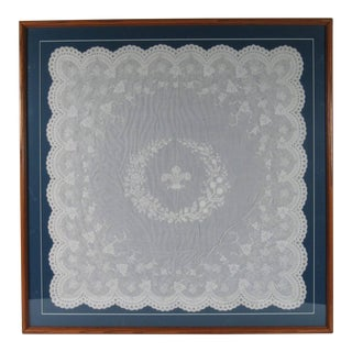 19th Century 'or Earlier' Antique Linen Embroidered Table Scarf, Framed For Sale