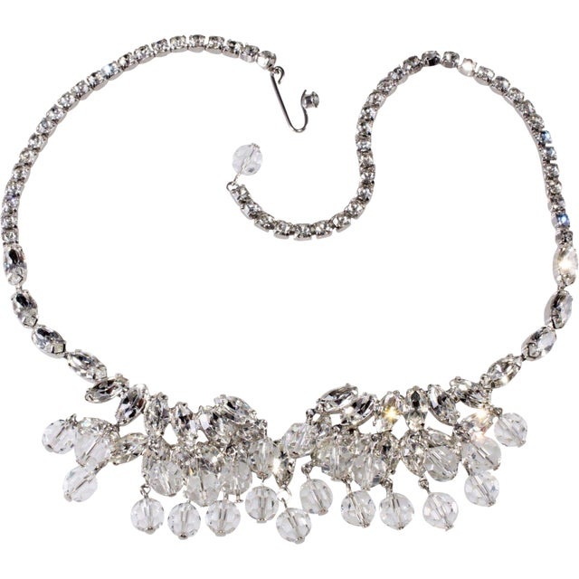 Weiss Necklace Clear Navette Marquis Rhinestones Bead Dangles Vintage 1950s For Sale