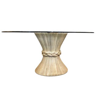 1960s Hollywood Regency McQuire Bamboo Pedestal Dinning Table For Sale