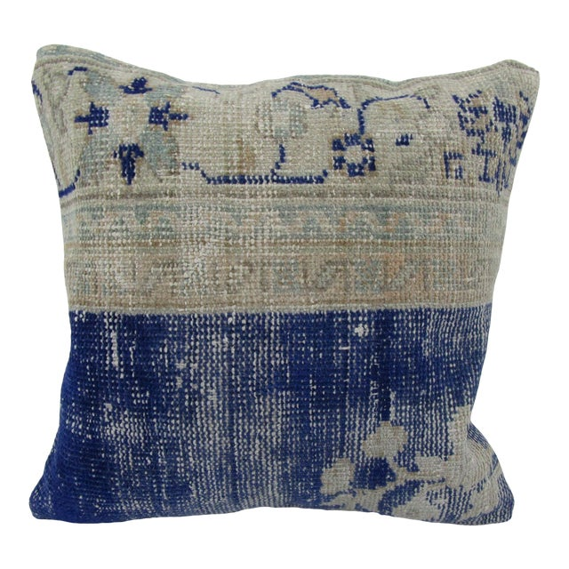 Vintage Turkish Navy Decorative Pillow Cover For Sale