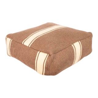 Vintage Anatolian Neutral Striped Floor Cushion For Sale