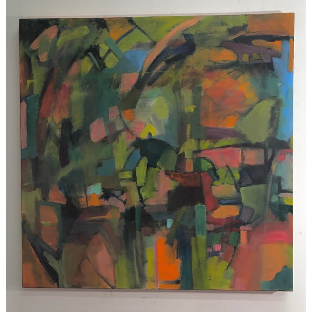 This painting has elements of forest but in a deconstructed way. The colors are very vivid. I think of this painting as...
