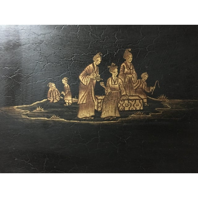 Vintage Chinoiserie Hand Painted Wooden Rectangle Tray Table For Sale - Image 12 of 13