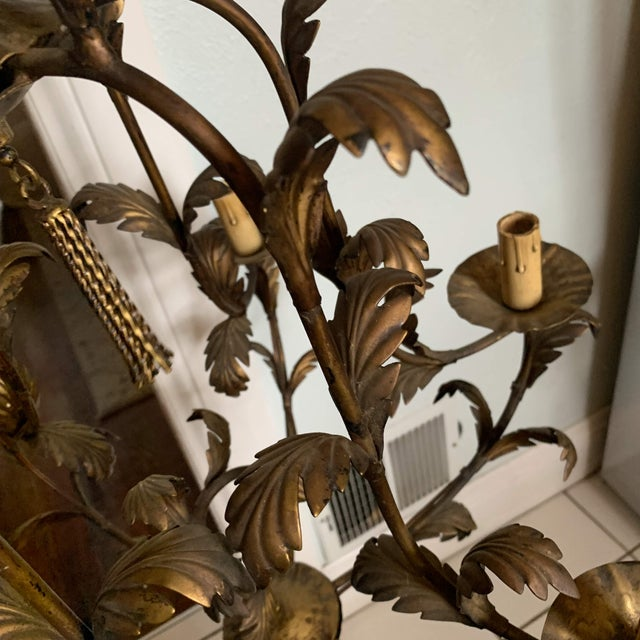 Italian Gilt Bronze Metal SixLight Foliate Chandelier For Sale In Denver - Image 6 of 13