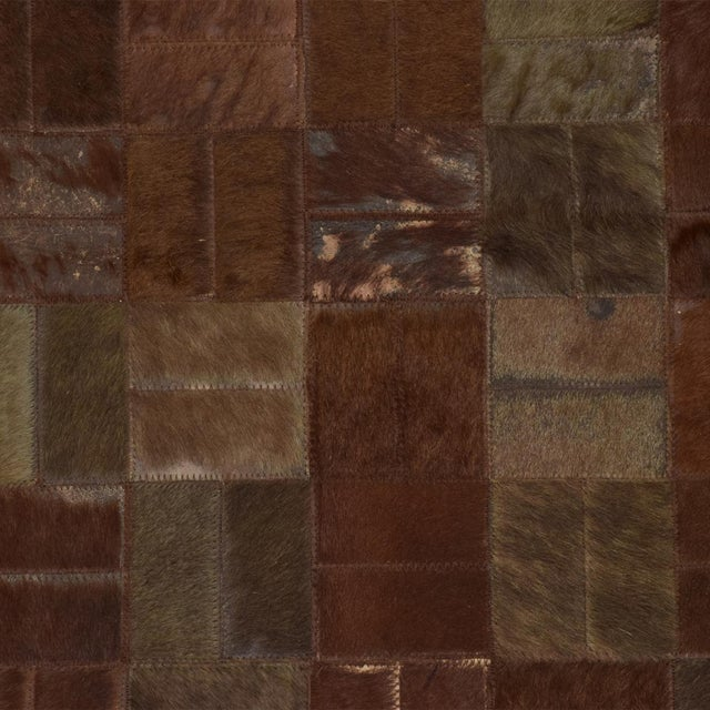 1980s Brutalist Patchwork Cowhide Leather Rug- 8′3″ × 13′2″ For Sale - Image 5 of 9