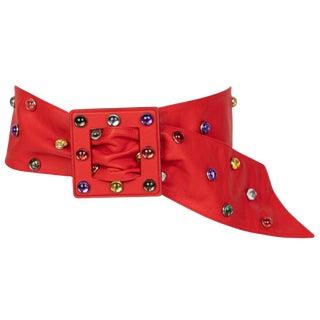 1980s Saint Laurent Red Leather Jewel Belt For Sale