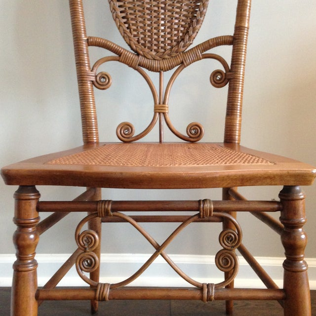 Rattan Heywood Brothers Wakefield Antique Victorian Wicker and Cane Chair For Sale - Image 7 of 9