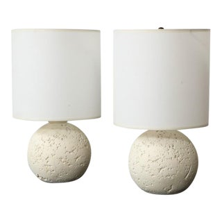 Pair of Textured Custom Circular Plaster Lamps For Sale