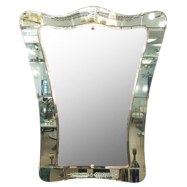 Cristal Art Mirror, Italy, 1950's For Sale
