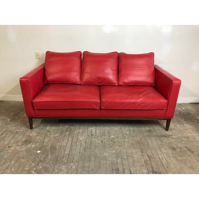 Mid Century Style Red Sled - McCreary Modern for Room & Board Leather Sofa For Sale - Image 10 of 10