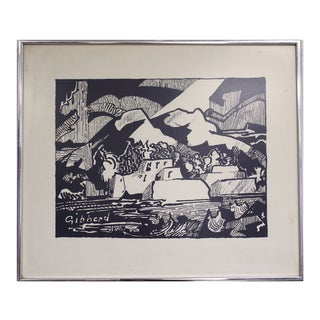 "Eric W. Gibberd ""Taos Pueblo"" Woodcut Print For Sale"