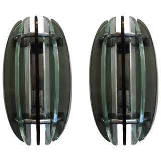 1960's Italian Glass Sconces by Veca-A Pair For Sale