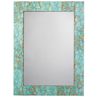 Jamie Young Turquoise & Gold Leaf Rectangle Mirror For Sale